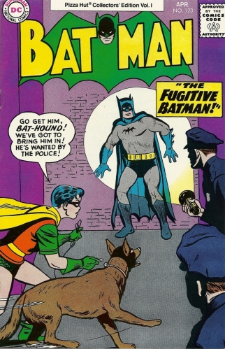 The Batman, harried and hounded. And pizza. - Batman #123 (Pizza Hut Collectors' Edition)