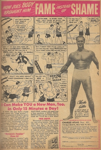 The days when Charles Atlas was afraid of a man's nipples and a woman's midriff