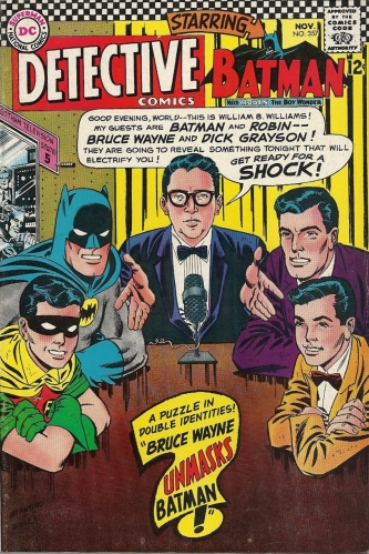 Batman, Robin, Bruce Wayne, Dick Grayson and Henry Kissinger's doppelganger request the pleasure of your company - Detective Comics #357