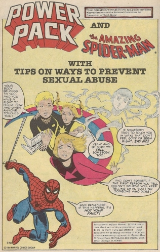 Spider-Man and Power Pack would like to pause a moment for some sexual abuse PSA bewilderment