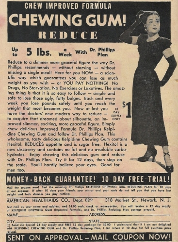 According to 1950s romance comics ads, women back then worried about their weight, appearance, lips and *ahem* lady business