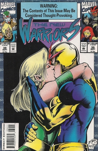 Perhaps as recompense for Infantino's run on his title, Nova gets to suck face with Namorita. EVEN-STEVEN. - The New Warriors #39