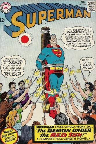 Here's Kal-El rendered powerless by a red sun and trussed to a pole for the 517th time. Awesome. - Superman #184