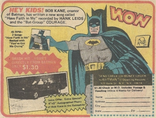 "Bob Kane wrote(?) the song ""Have Faith in Me,"" which definitely wasn't about his veracity with Batman credits, amiright?"
