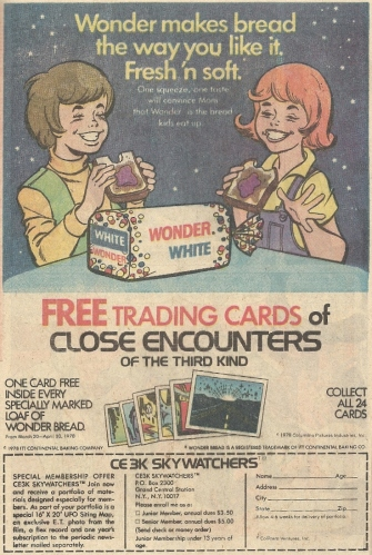 Close Encounters of the Third Kind Wonder Bread cards