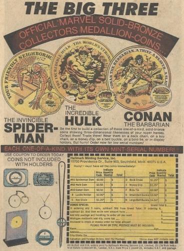 Spider-Man Hulk Conan coins